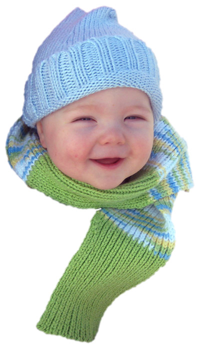 Our son, Wright, in soy hat and cotton scarf
