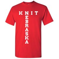 "T-Shirt ""Knit Nebraska"" on Red, X-Large"
